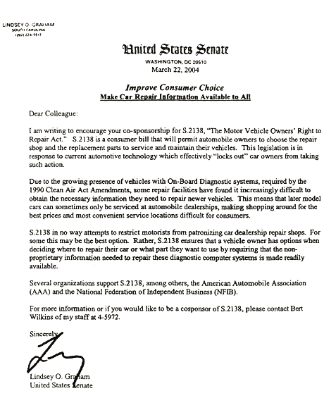 CARE - Right to Repair in Congress: Dear Colleague Letters